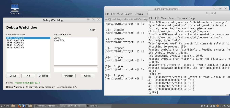 Debug Watchdog for Linux (v1.0). Fedora 25.